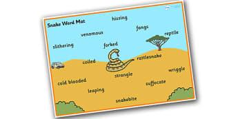 Safari Snake Word Mat - safari, safari word mat, safari snake word mat, snake word mat, safari animals word mat, snake descriptive word mat, snake words