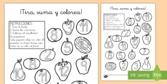 ¡Tira, suma y colorea! - Las frutas  - tira, suma, colorea, colorear, pintar, colores, fruta, frutas, tirar, dado, dados, sumar, sumas, adi
