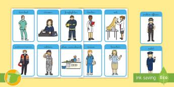 Job Flashcards - Jobs, Professionals, the city, my community, teacher, firefighter, versión española, trabajos en e