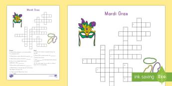Mardi Gras Crossword - Mardi Gras, Fat Tuesday, Shrove Tuesday, Carnival, KS1, Celebration, New Orleans, Parade