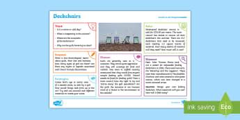 Seaside: Deckchairs KS2 Exploration Sheet - seaside, deckchairs, gulls, beach, KS2, Imagine (KS2)