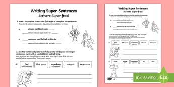 Writing Super Sentences Differentiated Activity Sheet English/Italian - Writing Super Sentences Differentiated Activity Sheets - GPS, grammar, punctuation, capital letters,