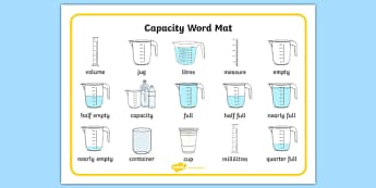 Capacity Word Mat - capacity, measure, maths, numeracy, word mats, Capacity, volume, measure, litre, cup