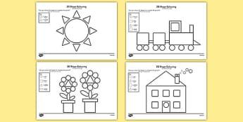 Colour by 2D Shapes Arabic Translation - arabic, colour, 2d shapes, 2d, shapes, colouring, activity, maths