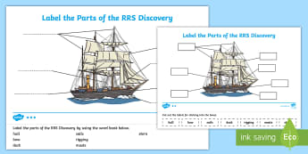 Label the Parts of the RRS Discovery Differentiated Activity Sheets  - Tallship, Scott, Antarctic, Explorer, Scottish, Boat