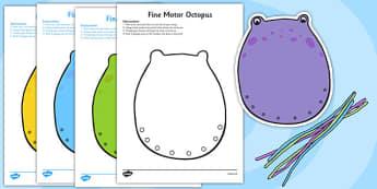 Fine Motor Octopus Worksheet - fine motor, fine motor sheet, fine motor worksheet, octopus worksheets, octopus themed, fine motor skills sheet