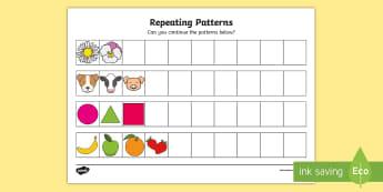 Repeating Patterns KS1 Activity Sheet - extending, algebra, patterns, copy, continue,Irish