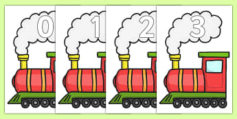 Numbers 0-20 on Trains - Train, Foundation Numeracy, Number recognition, Number flashcards, Train display