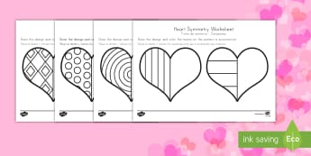 Valentine's Day Heart Symmetry Activity Sheets English/Spanish (Latin) - Valentine's Day Heart Symmetry Worksheets - symmetry, sheets, symmetry sheets, valentines day, vale