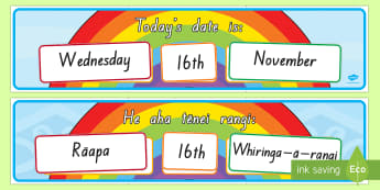Today's Day and Date Display Pack English/Te Reo Maori - calendar, Maori, Te Reo, Date, day, classroom calendar, display