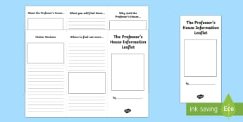 The Professor's House Leaflet Writing Template-Scottish - CfE, Narnia, leaflet, writing, literacy, information, persuasive,Scottish