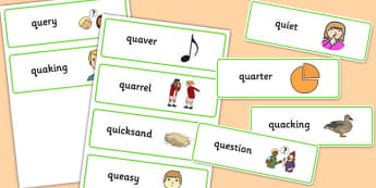 Two Syllable QU Word Cards - speech sounds, phonology, articulation, speech therapy, cluster reduction
