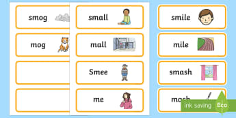 'sm' and 'm' Near Minimal Pair Word Cards - Minimal Pairs, phonology, articulation, cluster reduction, dyspraxia, apraxia