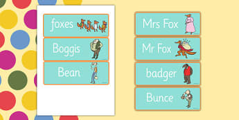 Word Cards to Support Teaching on Fantastic Mr Fox - Fantastic Mr Fox, fantastic mr fox word cards, word cards, roald dahl word cards, roald dahl, fantastic mr fox keywords
