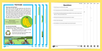 Fairtrade Differentiated Reading Comprehension Activity - KS1, Key Stage 1, Key Stage One, Year 1, Year 2, Reading Comprehension, Fact File, Differentiated, R
