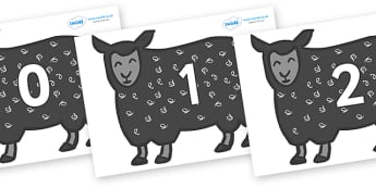 Numbers 0-50 on Black Sheep to Support Teaching on Brown Bear, Brown Bear - 0-50, foundation stage numeracy, Number recognition, Number flashcards, counting, number frieze, Display numbers, number posters