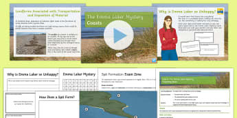 Coasts 4: The Emma Laker Mystery Lesson Pack - spit, bar, berm, longshore drift, erosion, transportation, deposition