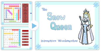 The Snow Queen Interactive Wordsearch - snow queen, wordsearch