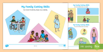 My Family Cutting Skills Activity Sheets - worksheets, fine motor, themes and topics, everyday life, ourselves, kindergarten, preschool, nurser