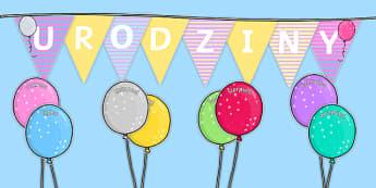 Zestaw Urodziny klasowe do edytowania Baloniki po polsku