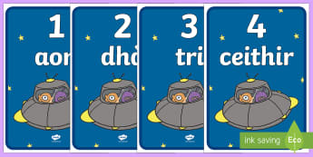 Space Ship 0-10 Countdown Posters - cfe, curriculum for excellence, gaelic, space ship, role play, space, countdown, posters, display, 0-10