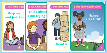 I Can Calm Myself Down Display Posters - SEN, Calm, behaviour management, autism, autistic, calming strategies, think what I am saying, count to 10, deep breath, good hands and feet