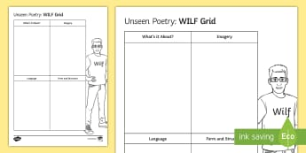 Unseen Poetry - WILF Grid Activity Sheet - unseen poetry, contemporary poetry, GCSE English Literature, poetry comparison, meaning, understandi