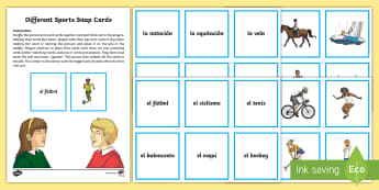 Different Sports Snap Card Game  - Spanish, Vocabulary, KS2, different, sports, snap, game, cards, football, basketball, ,Scottish