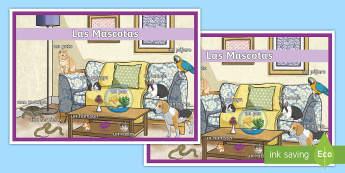 Spanish Pets Display Poster Spanish - Spanish, Vocabulary, KS2, pets, animals, display, poster, classroom, organisation, decoration