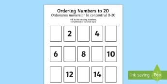 Missing Numbers to 20 Ordering Activity English/Romanian - Priority Number Ordering Sheets, numbers, 20, twenty, sats, ks1, practice, maths, counting,Romanian-