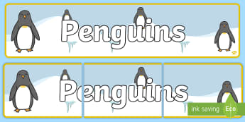 Penguin Themed Classroom Display Banner - Themed banner, banner, display banner, Classroom labels, Area labels, Poster, Display, Areas