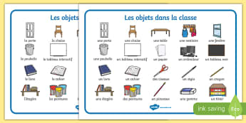 Objets dans la classe Word Mat French - french, classroom, objects, word mat, word, mat