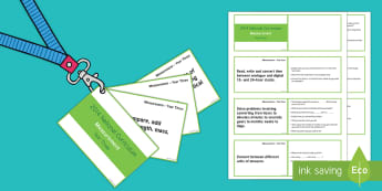 Lanyard Sized Year Four Measurement Objectives Cards - year 4, y4, year four, objectives, measurement, prompts, questions, reasoning skills, developing lea