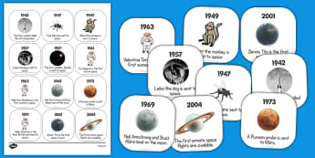 Space Travel Timeline Ordering Activity - space, travel, timeline