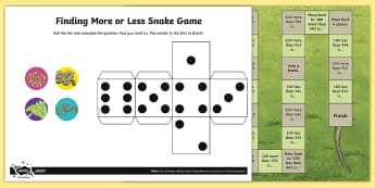 Finding 100 More or Less Snake Board Game - Number and Place Value, counting on, problem solving, maths mastery, year 3, fun maths, number value