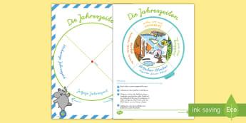 Die Jahreszeiten Spielrad Bastelanleitung - Sommer, Herbst, Winter, Frühling, basteln, Werken, Jahreszeitenwechsel, Jahreszeiten,German