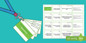 Lanyard Sized Year One Measurement Objectives Cards - Year 1, year one, maths, numeracy, National Curriculum, measurement objectives, maths statements, as