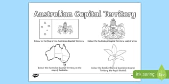 Australian Capital Territory Colouring Sheet - australia, colouring, flag, coat of arms, floral emblem, map, Australia, Art, Geography, states, territories