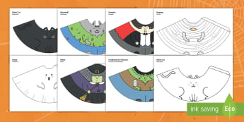 Halloween Cone Characters English/Portuguese - halloween, craft, cone, characters, eal