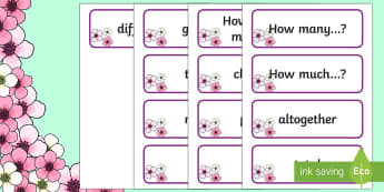 Problem Solving Words Cards - Spring Theme  - NI Spring, vocabulary, problem solving, key words, spring, seasons, maths,