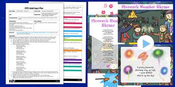 Fireworks Number Rhyme EYFS Adult Input Plan and Resource Pack - fireworks, number, rhyme, eyfs