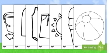 Summer Colouring Pages - NI, Summer, hot weather, swim, swimsuit, trunks, lollipop, goggles, sunglasses, beach ball, ice crea