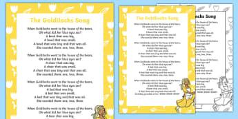 Goldilocks Song Lyrics - goldilocks, traditional tales, songs