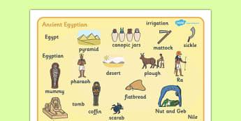 Ancient Egyptian Word Mat - Ancient Egyptian, history, Egyptians, word mat, writing aid, mat, Egypt, pyramids, Pharaoh, hierogliphics, hieroglyphs, Tutankhamun, Giza, Dahshur, Mummy
