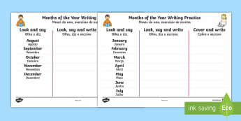 Months of the Year Writing Practice Activity Sheets - English/Portuguese  - day, week, month, days, weeks, months, year, years, time, management, classroom, calendar, vocabular