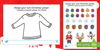Christmas Jumper Design Cut and Stick Activity Sheet English/Romanian - christmas, xmas resources, design, jumper, EAL