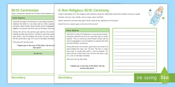Birth Ceremonies Activity Sheet - Birth ceremonies, Infant baptism, Sikh naming ceremony, confirmation, religious community, baptismal