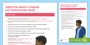 How to Support SLCN in the Classroom Strategy Sheet - slcn, classroom, support, guidance, secondary, senco, sen