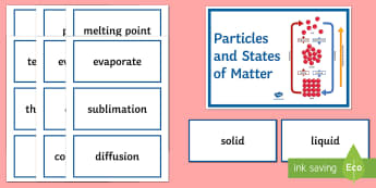 Particles and States of Matter Word Wall - Word Wall, Particles, states, solid, liquid, gases, diffusion, mixture, melting point