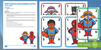 Build a Superhero Game   Addition Version Busy Bag Resource Pack for Parents - Superheroes, superhero, dice, number, adding, addition, superman, batman, spiderman